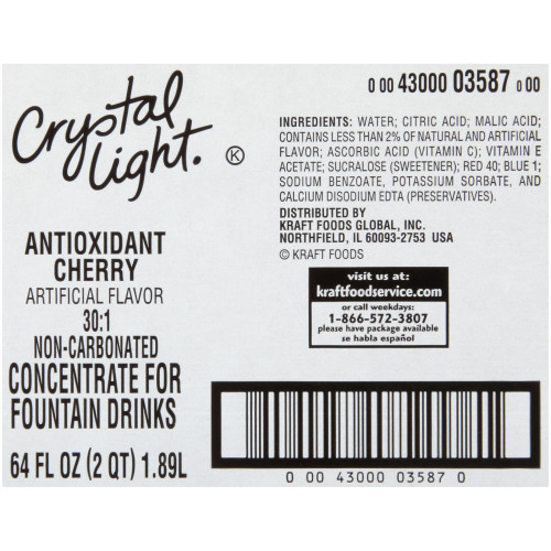 CRYSTAL LIGHT Cherry (with Antioxidants) Bag-in-Box Liquid Concentrate, 64 oz. Bag