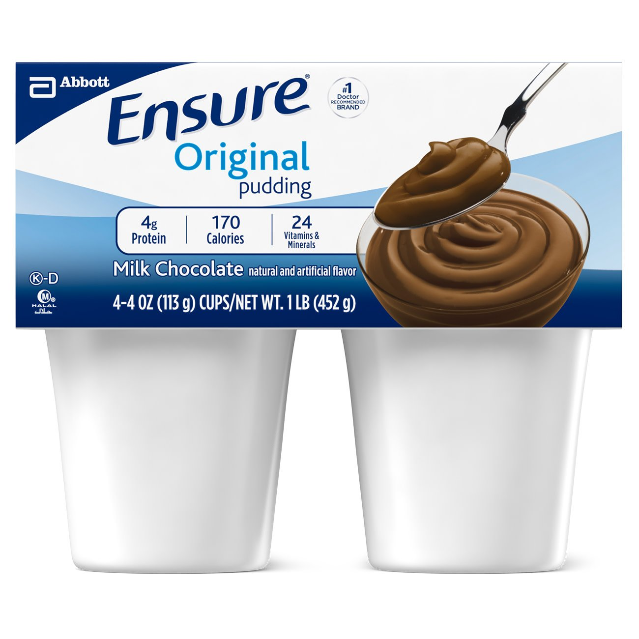 Ensure Pudding Creamy Milk Chocolate Flavor 4 oz. Cup Ready to Use, 54846 - Case of 48