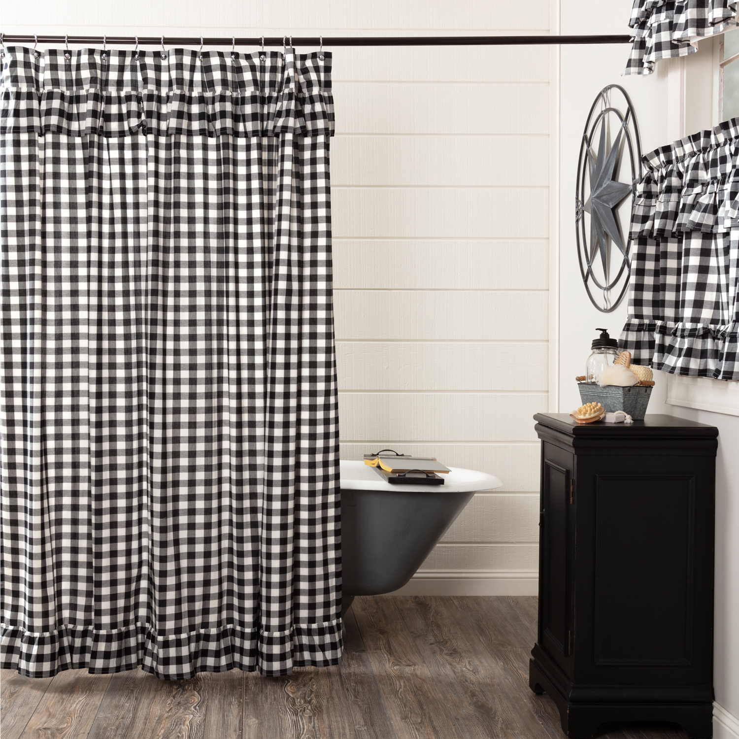 Annie Buffalo Black Check Ruffled Shower Curtain 72x72