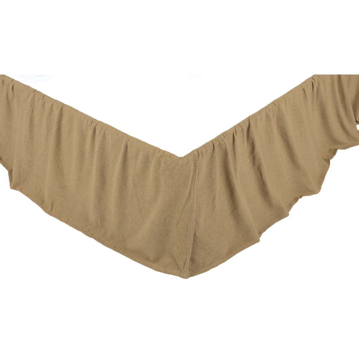 Burlap Natural Ruffled Twin Bed Skirt 39x76x16