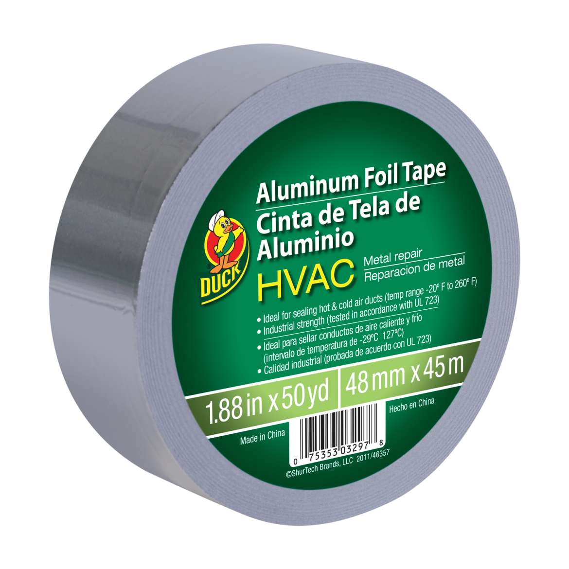 Duck® Brand HVAC Metal Repair Aluminum Foil Tape - Silver, 1.88 in. x 50 yd. Image