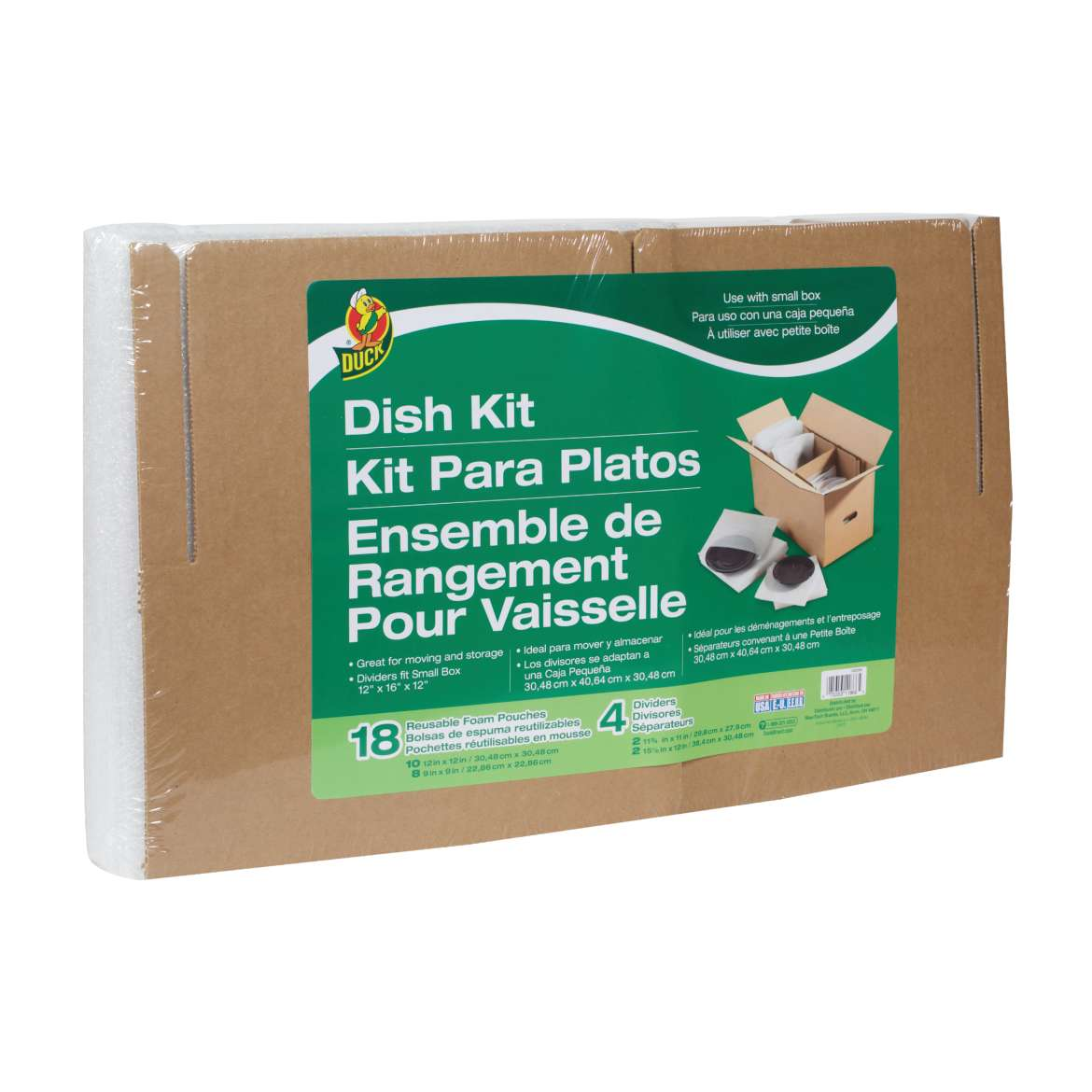 Duck® Brand Dish Kit, 18 Reusable Pouches and 4 Corrugate Dividers (Box Not Included) Image