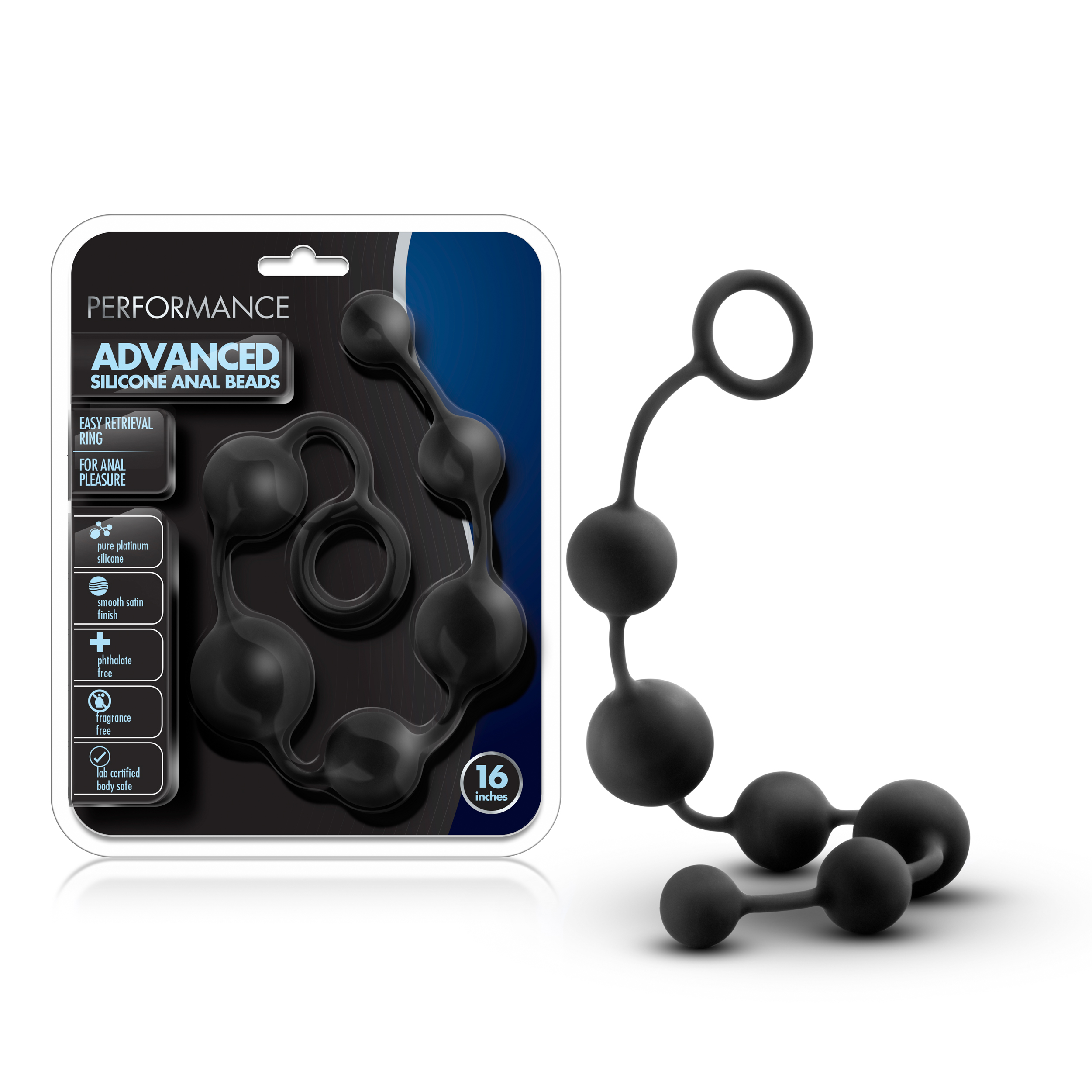 Performance - 16 Inch Silicone Anal Beads - Black