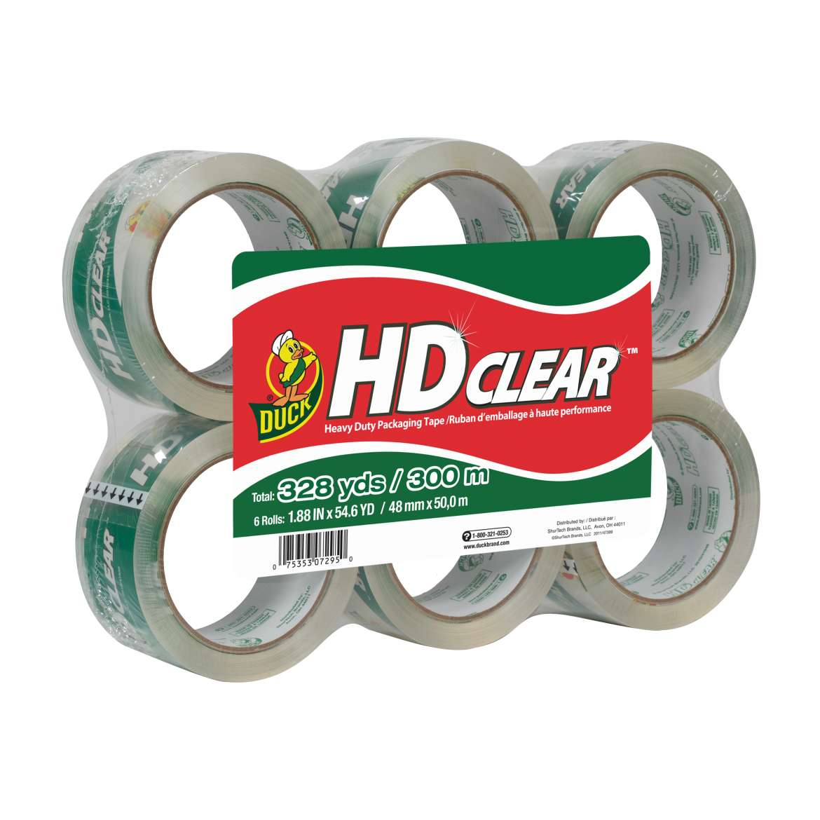 HD Clear™ Heavy Duty Packaging Tape - Clear, 6 pk, 1.88 in. x 54.6 yd. Image