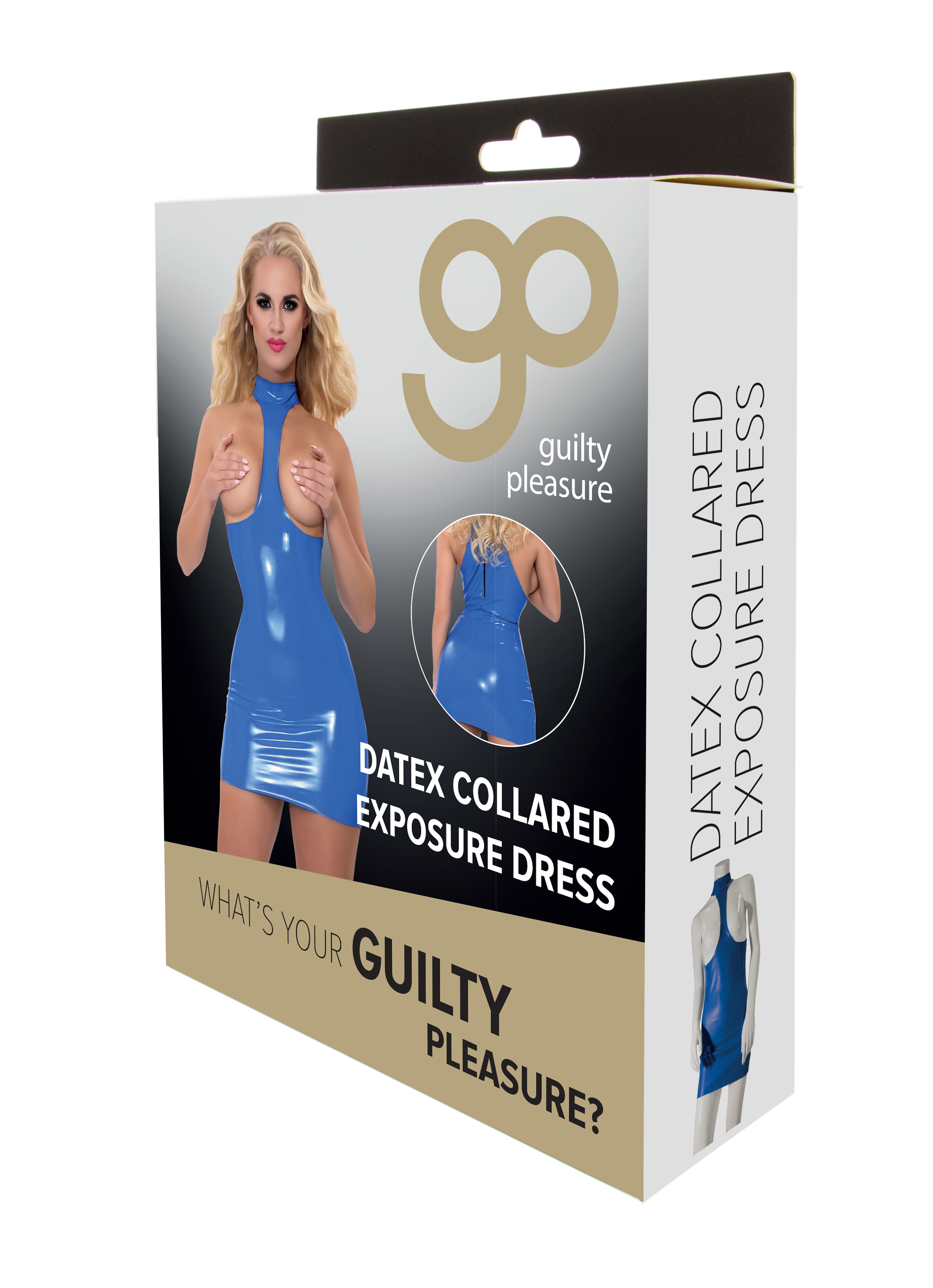 Guilty Pleasure - Datex Collared Exposure Dress - XL - Blue