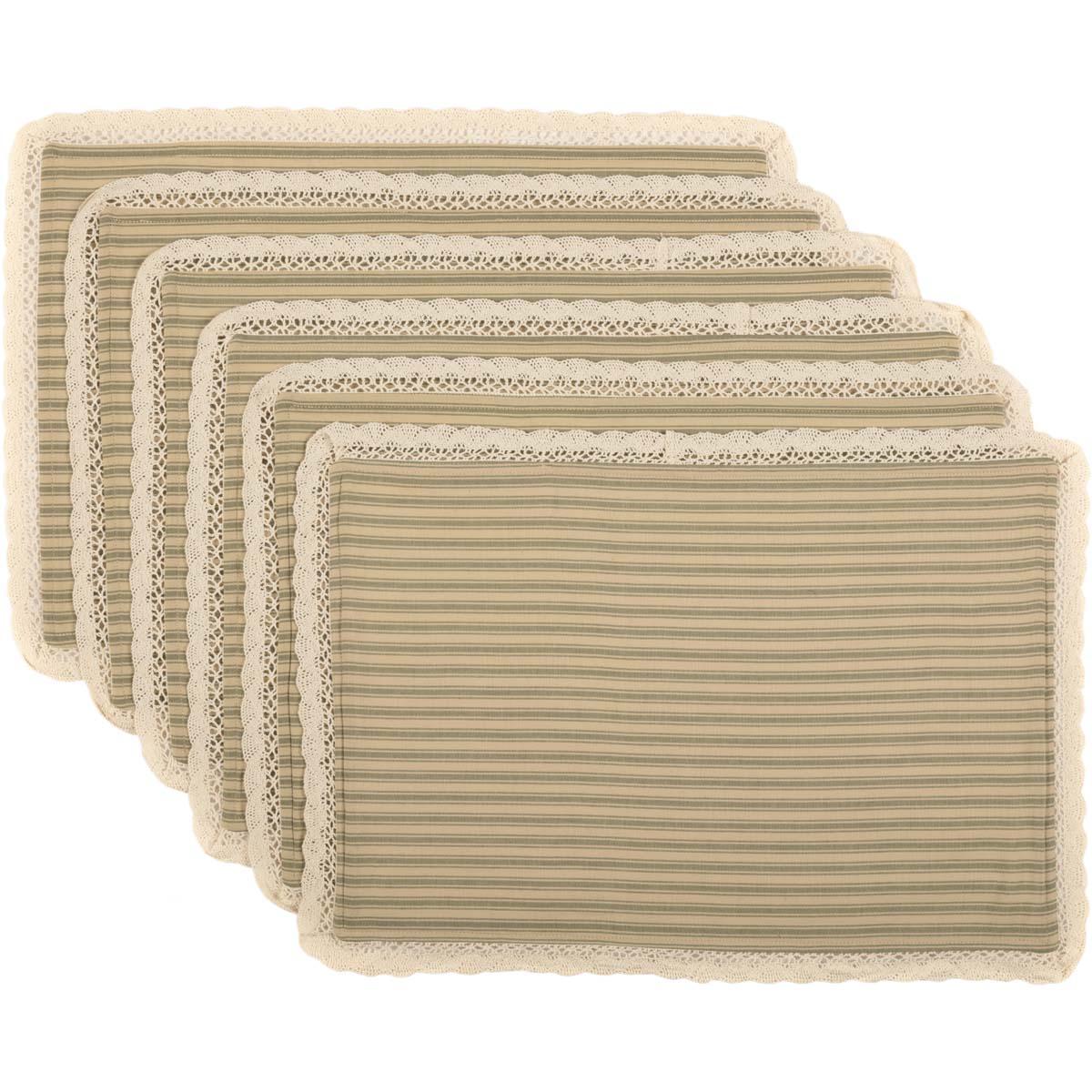Kendra Stripe Green Placemat Set of 6 12x18