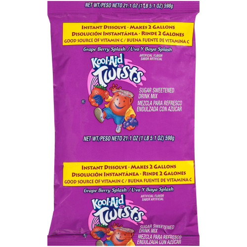KOOL-AID Grape Berry Splash Powdered Drink Mix, 21.1 oz. Pouch (Pack of 15)