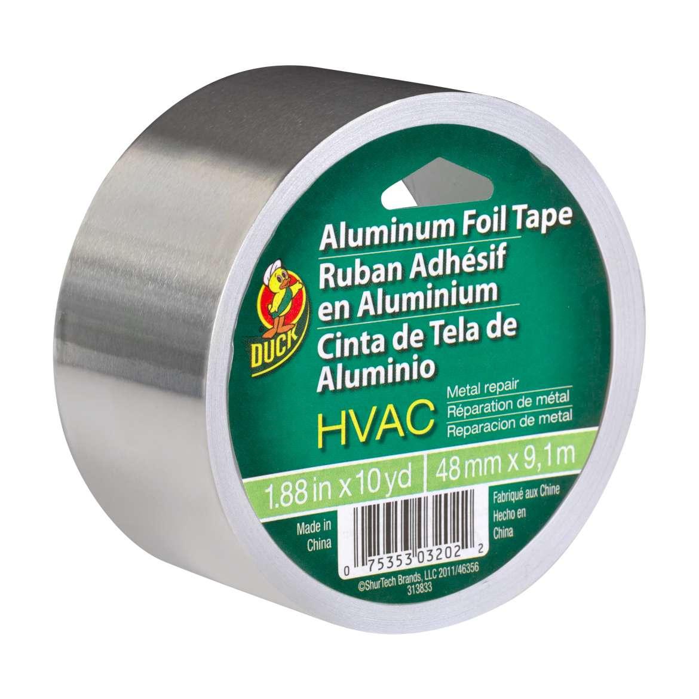 Duck® Brand HVAC Metal Repair Aluminum Foil Tape - Silver, 1.88 in. x 10 yd. Image