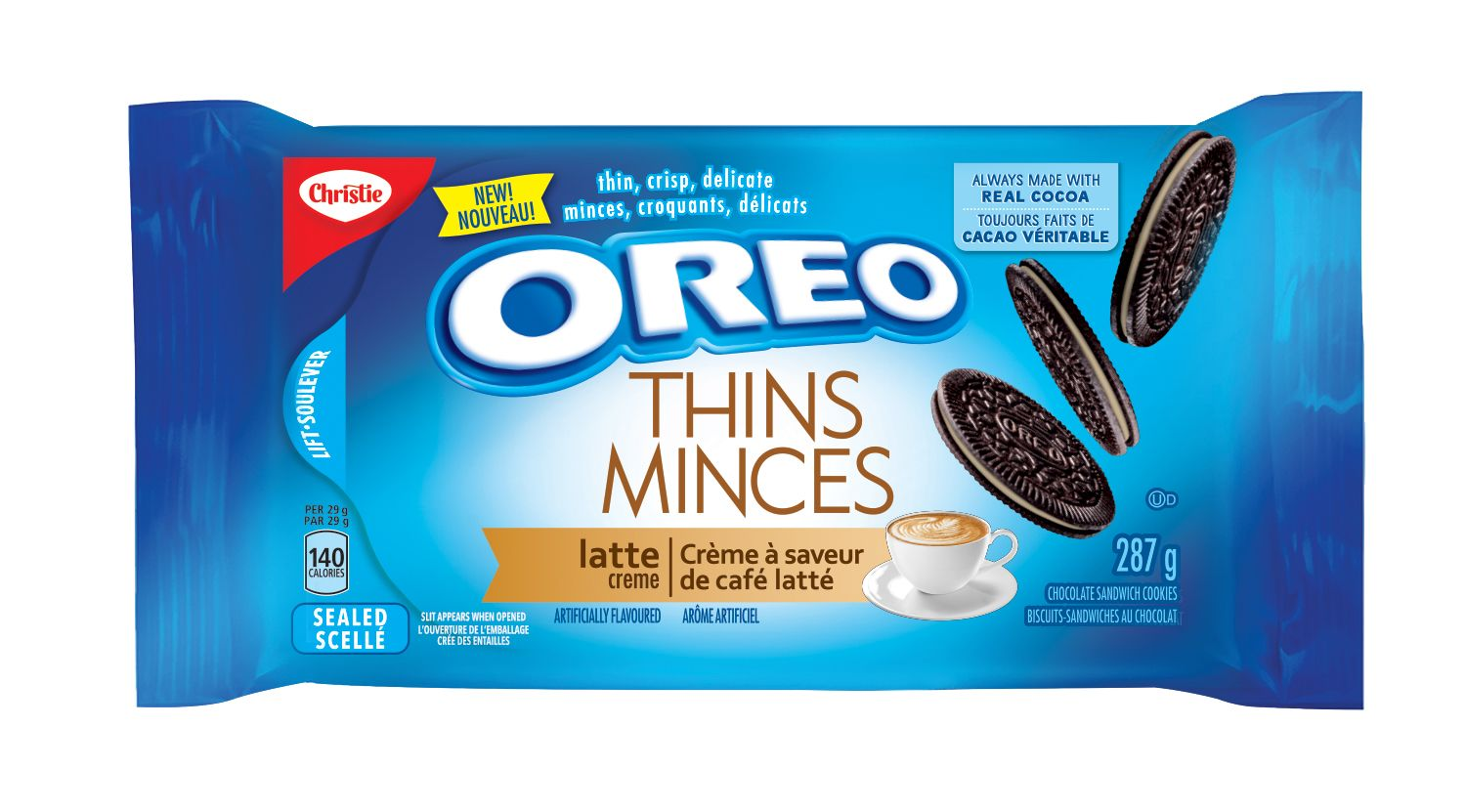 Oreo Thins Latte Sandwich Cookies 287 G