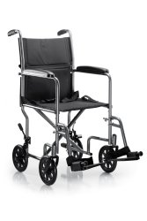 Lightweight Transport Chair, McKesson, Steel Frame with Silver Vein Finish 250 lbs. Weight Capacity Fixed Height / Padded Arm Black, 146-TR39E-SV - EACH