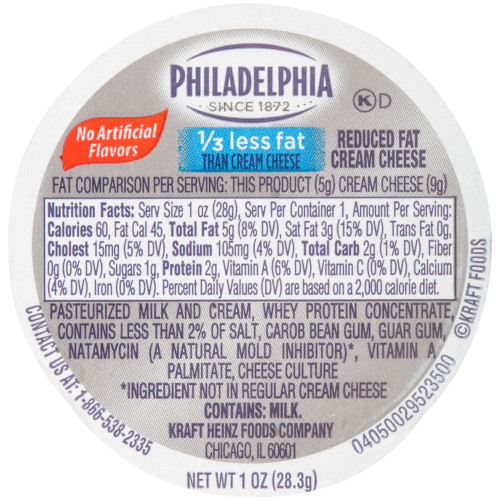 PHILADELPHIA Reduced Fat Cream Cheese Spread, 1 oz. Cup (Pack of 100)