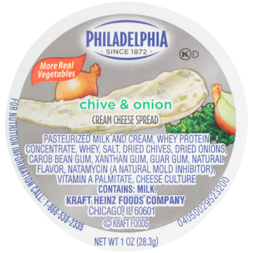 PHILADELPHIA Chive & Onion Cream Cheese Spread, 1 oz. Cup (Pack of 100)