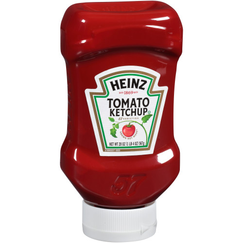 HEINZ Ketchup, 20 oz. FOREVER FULL Inverted Bottles (Pack of 30)