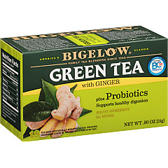 Green Tea with Ginger plus Probiotics -Case of 6 boxes - total of 108 teabags