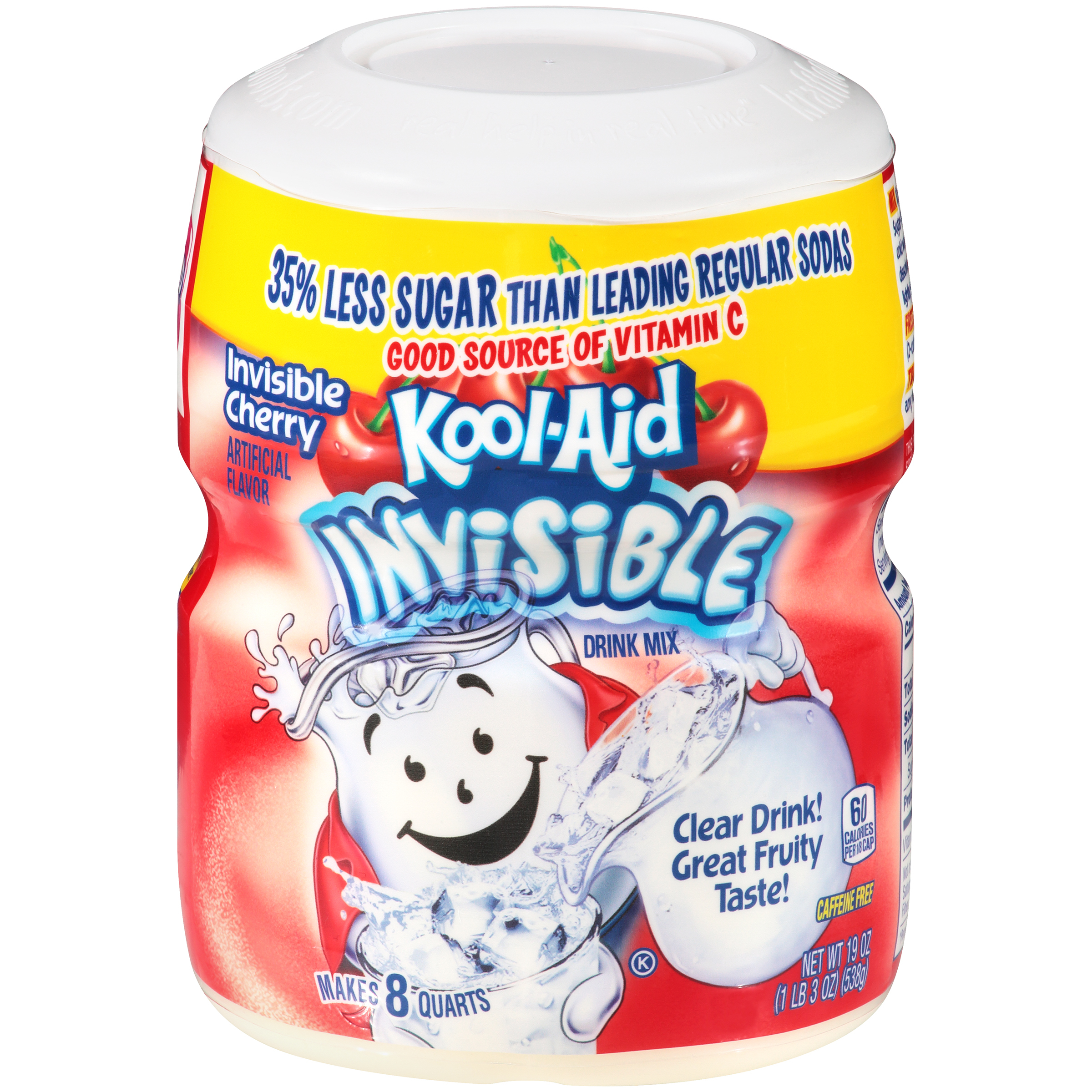 KOOL-AID Invisible Cherry  Drink Mix Sugar Sweetened 19 Oz Canister image