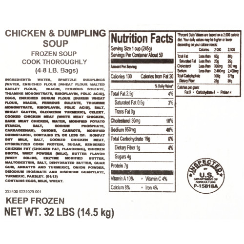 HEINZ CHEF FRANCISCO Chicken & Dumplings Soup, 8 lb. Bag (Pack of 4)