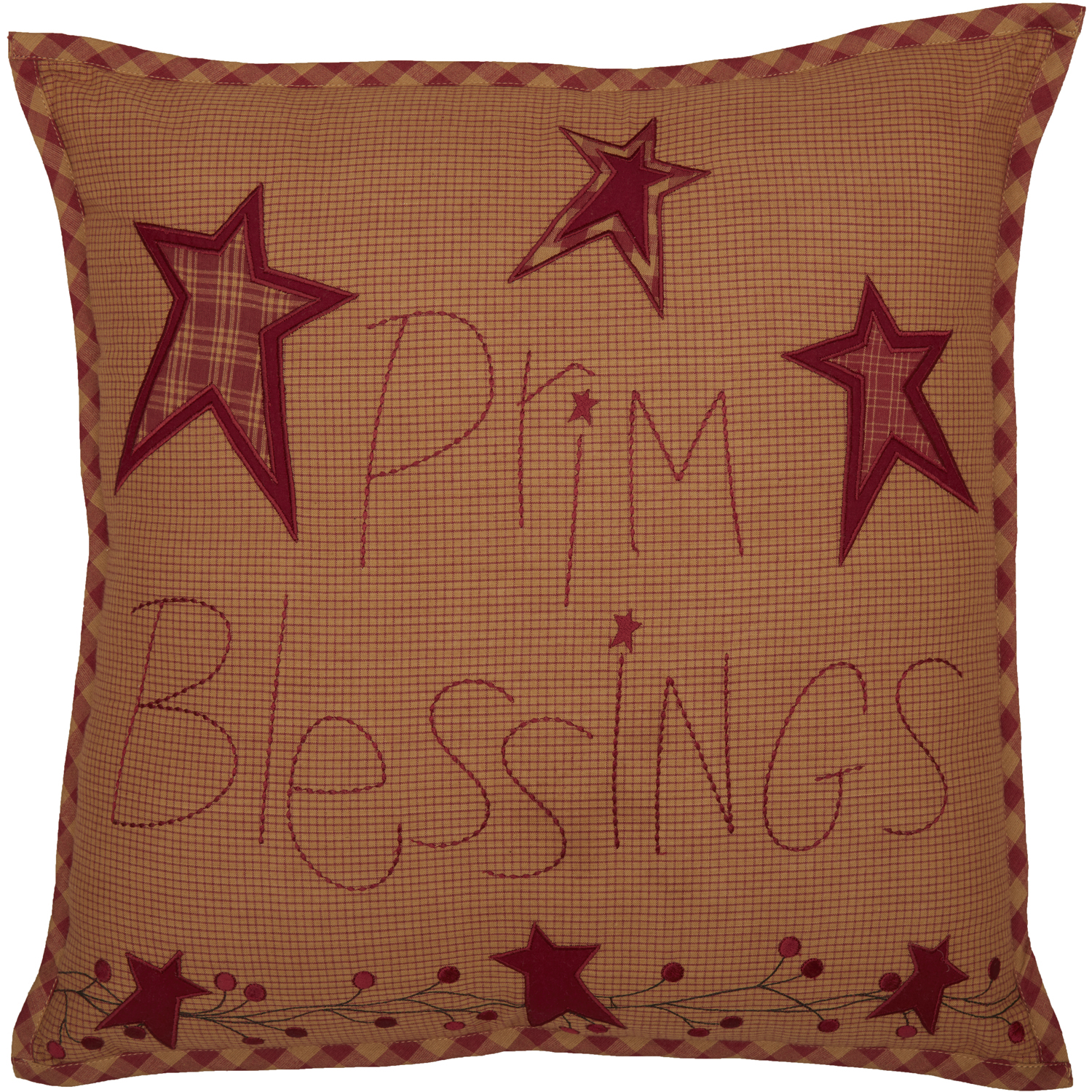 Ninepatch Star Prim Blessings Pillow 18x18