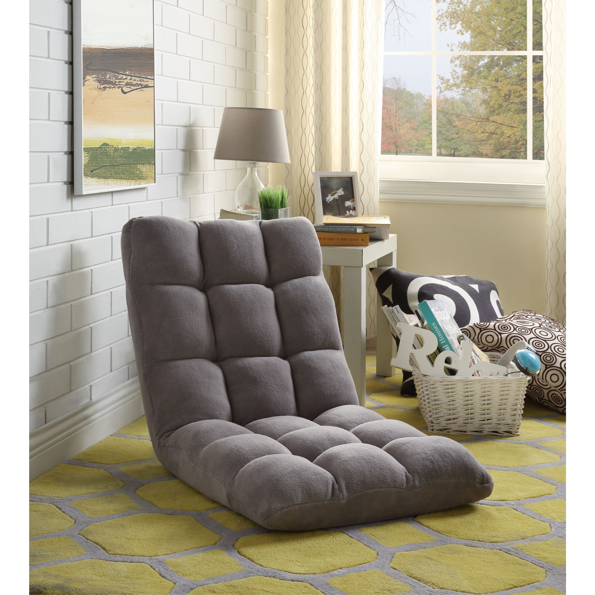 Loungie Grey Microplush Chair Foam Filling Steel Tube Frame
