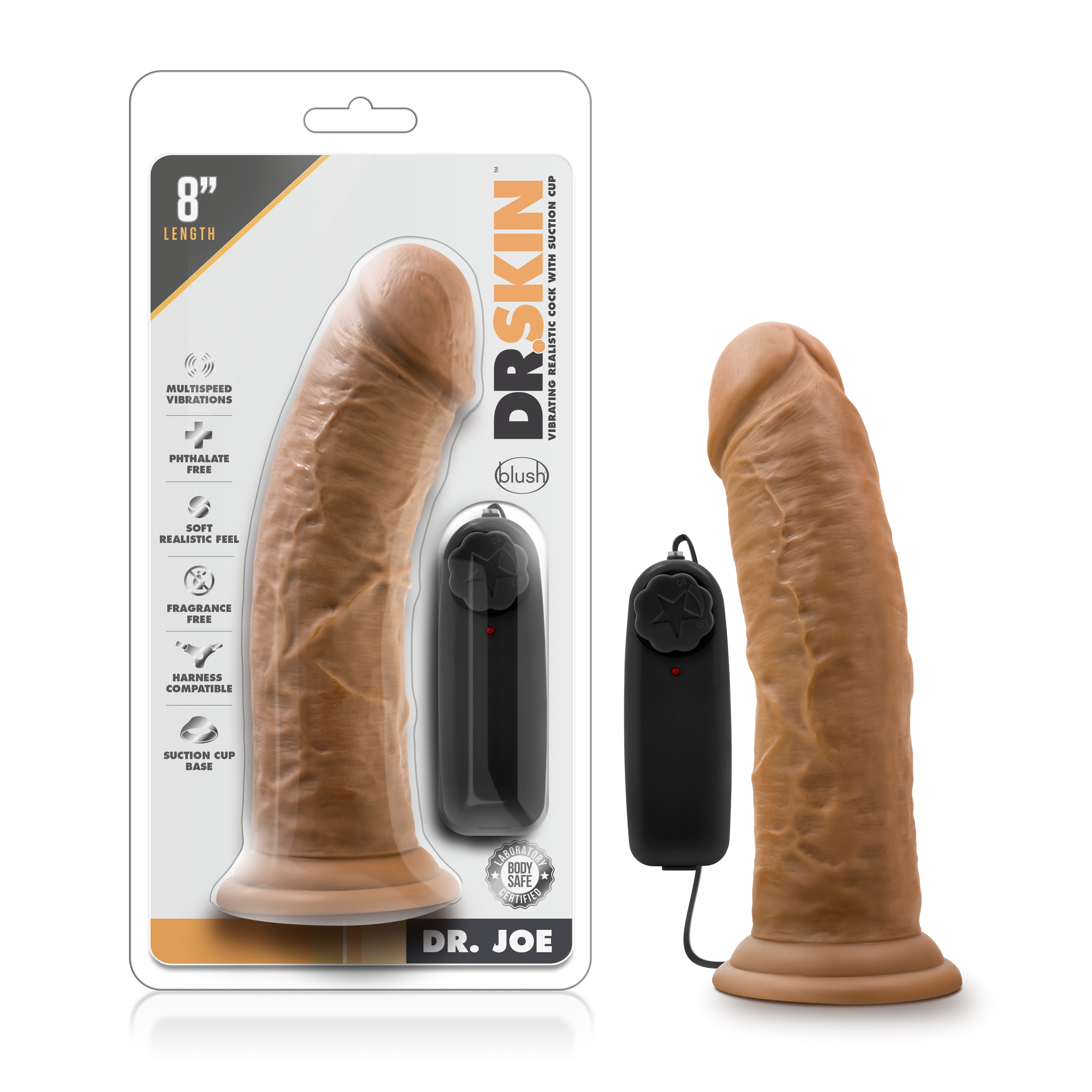 Dr. Skin - Dr. Joe - 8 Inch Vibrating Cock with Suction Cup - Mocha