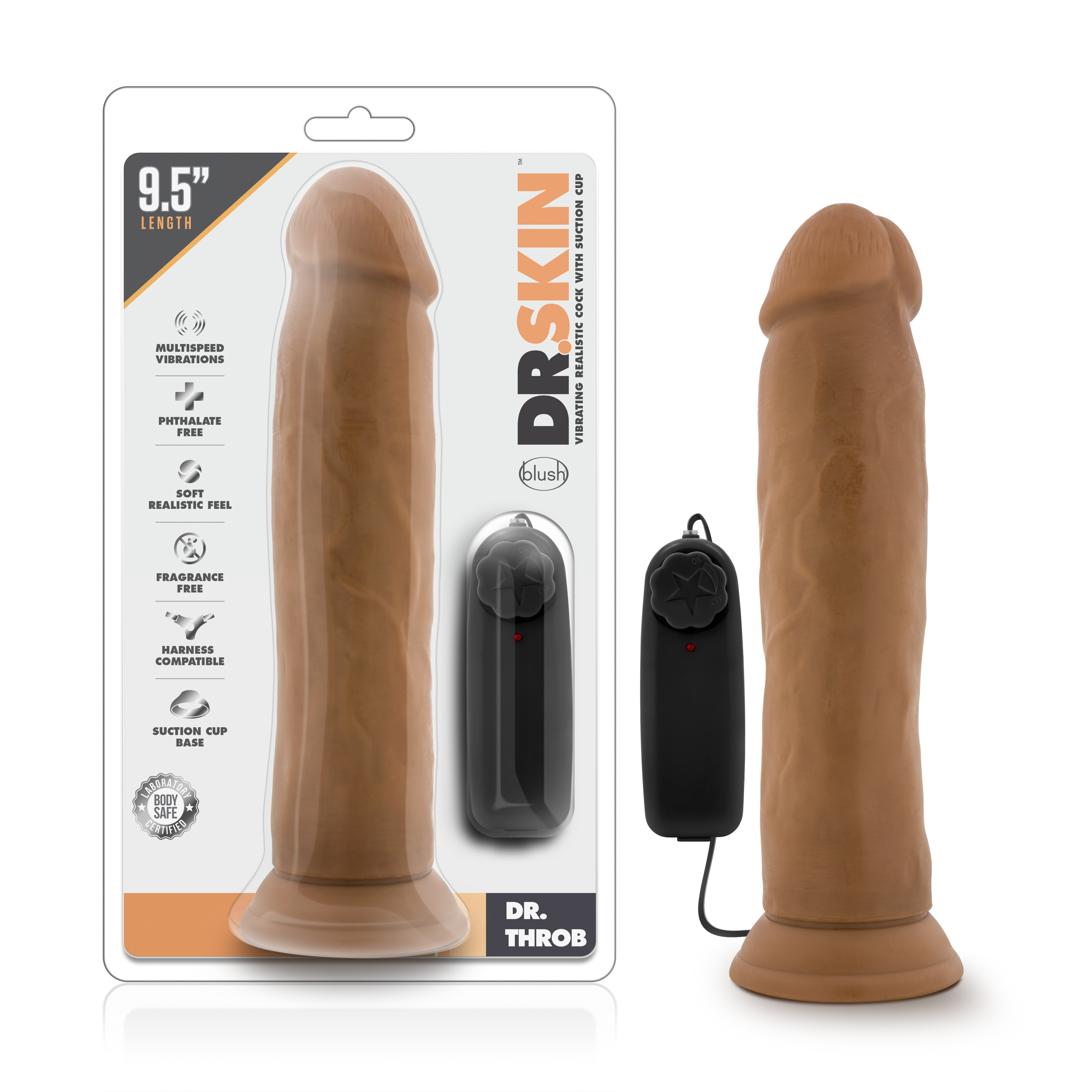 Dr. Skin - Dr. Throb - 9.5 Inch Vibrating Realistic Cock with Suction Cup - Mocha