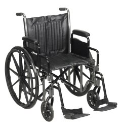 Wheelchair, McKesson, Desk Length Arm Padded, Removable Arm Style Composite Wheel Black 20 Inch Seat Width 350 lbs. Weight Capacity, 146-SSP220DDA-SF - EACH