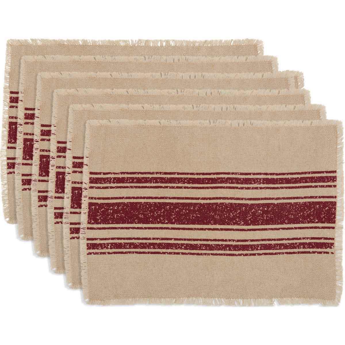 Vintage Burlap Stripe Red Placemat Set of 6 12x18