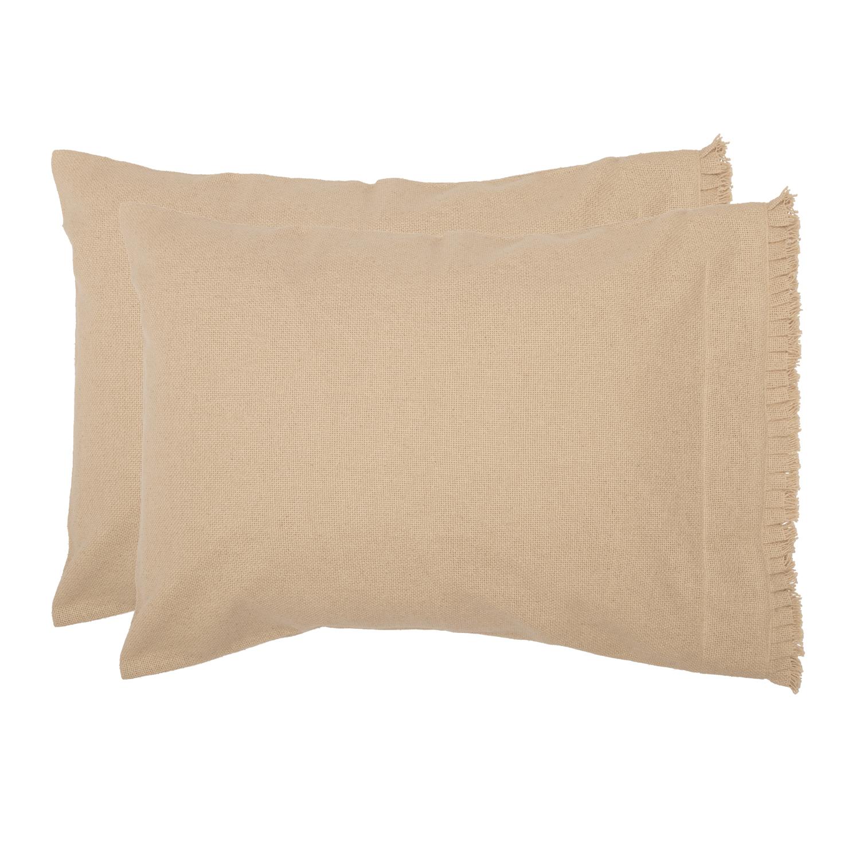 Burlap Vintage Standard Pillow Case w/ Fringed Ruffle Set of 2 21x30