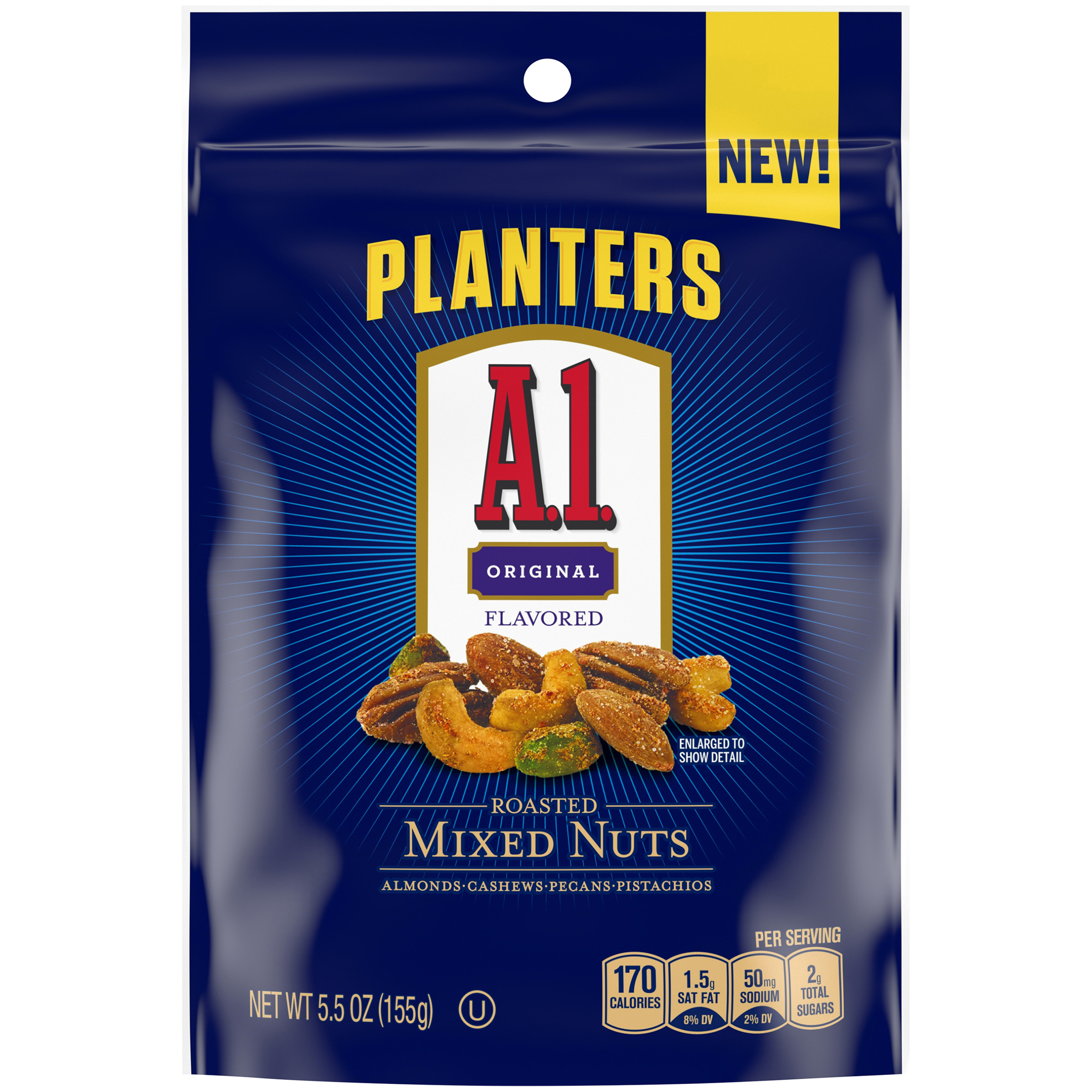 Planters A1 Sauce Flavored Roasted Mixed Nuts, 5 oz Bag