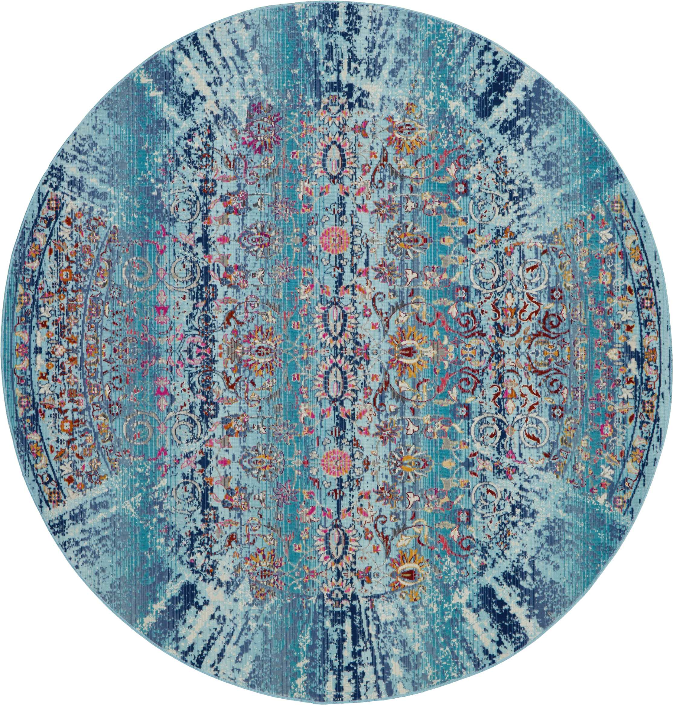 Nourison Vintage Kashan 4' Round Blue Multicolor Boho Area Rug