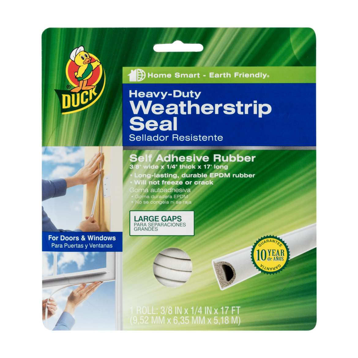 Duck® Brand Heavy-Duty Weatherstrip Seal - Large Gap, .38 in. x .25 in. x 17 ft. Image