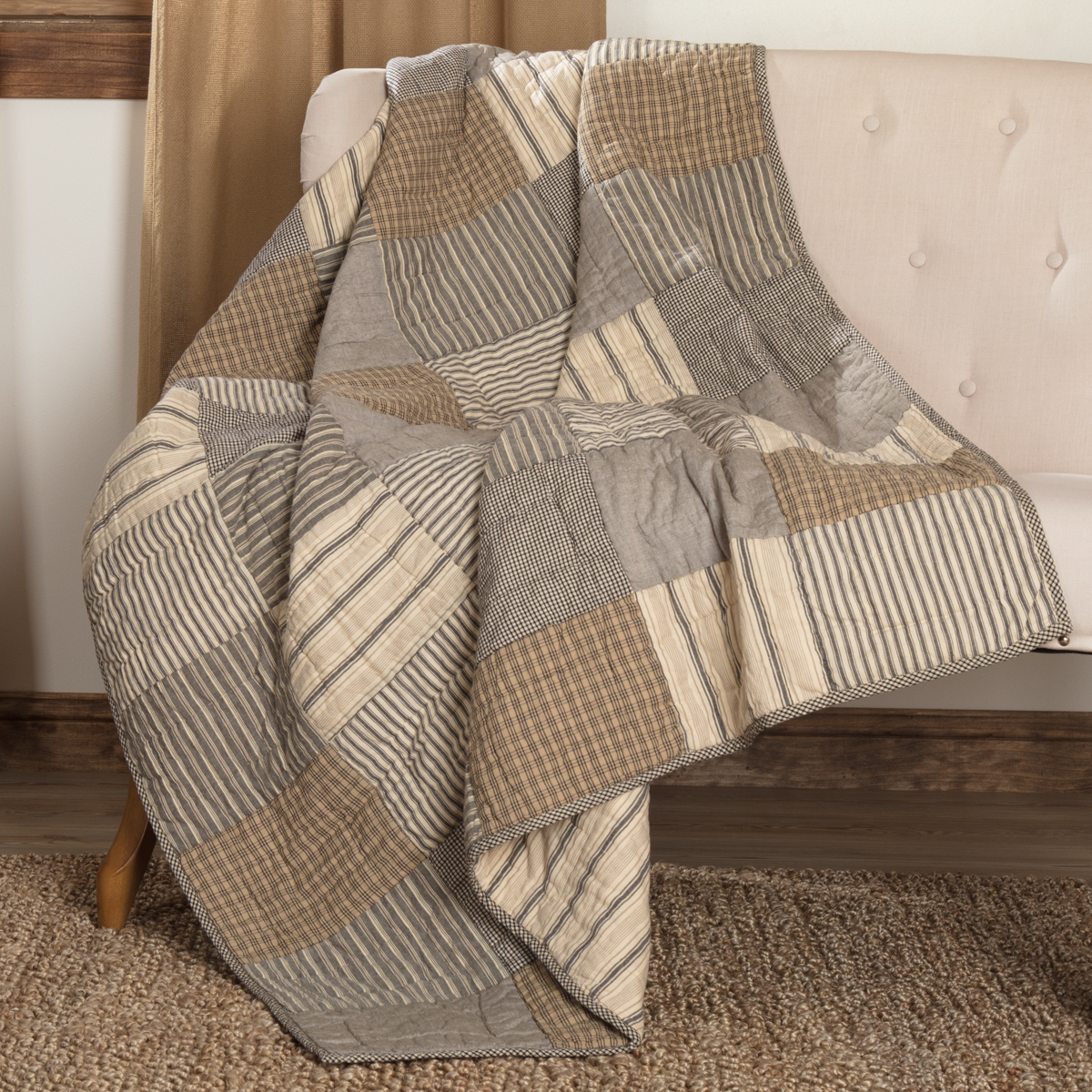 Sawyer Mill Charcoal Block Quilted Throw 60x50