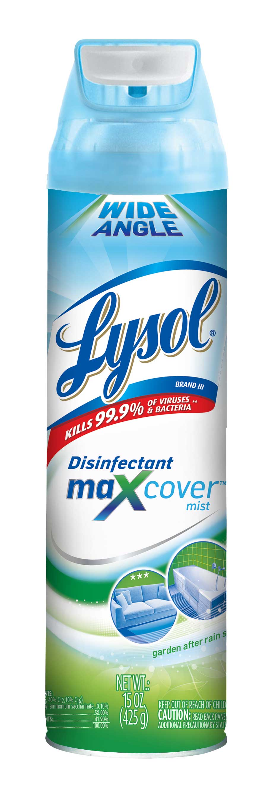 Lysol Max Cover Disinfectant Mist, Garden After Rain, 15oz, 2X Wider Coverage