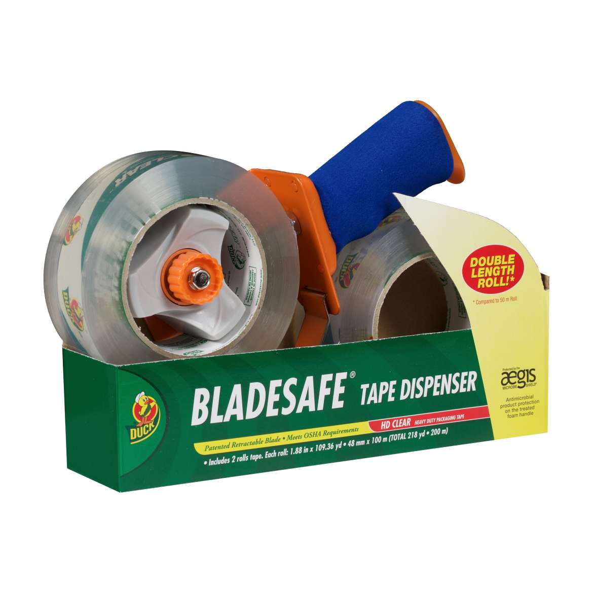 BladeSafe® Tape Dispenser with HD Clear™ Packaging Tape - Clear, 2 pk, 1.88 in. x 109 yd. Image