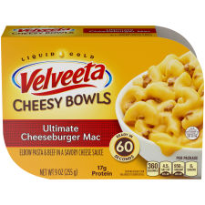 Kraft Velveeta Cheesy Bowls Ultimate Cheeseburger Mac 9 oz Tray
