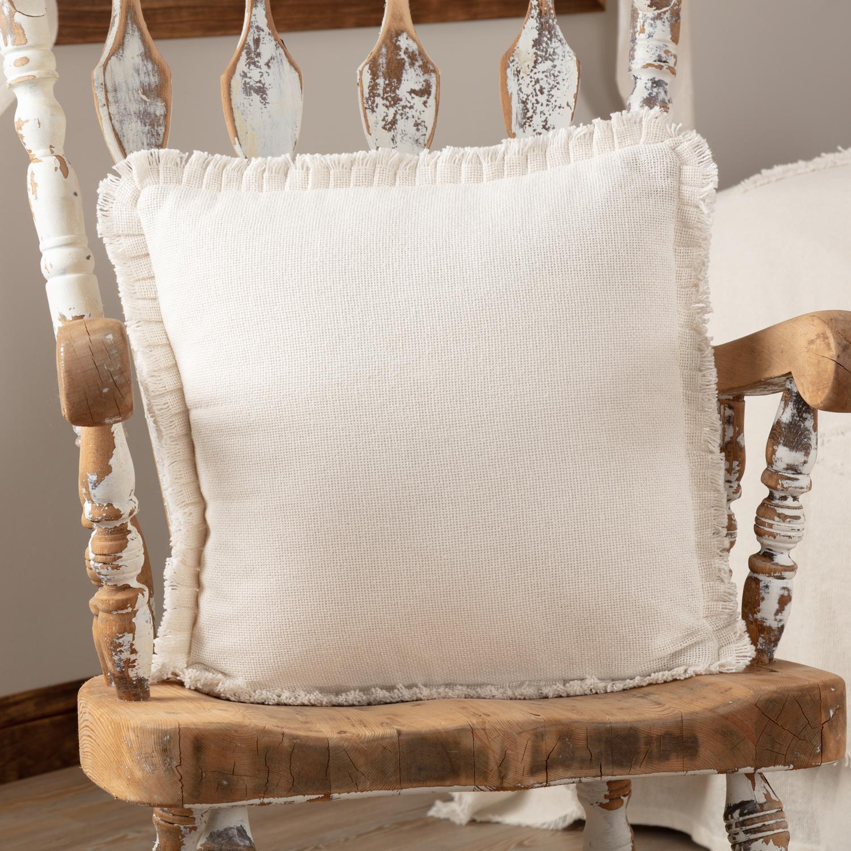 Burlap Antique White Pillow w/ Fringed Ruffle 18x18