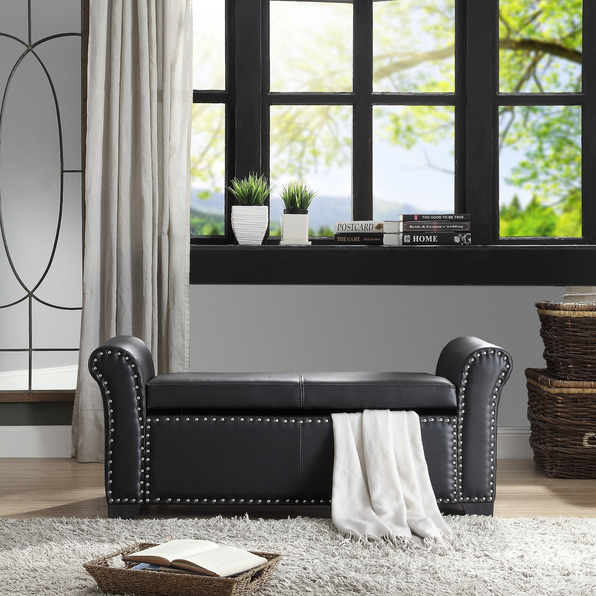 Inspired Home Black PU Leather Storage Bench Nailhead Trim
