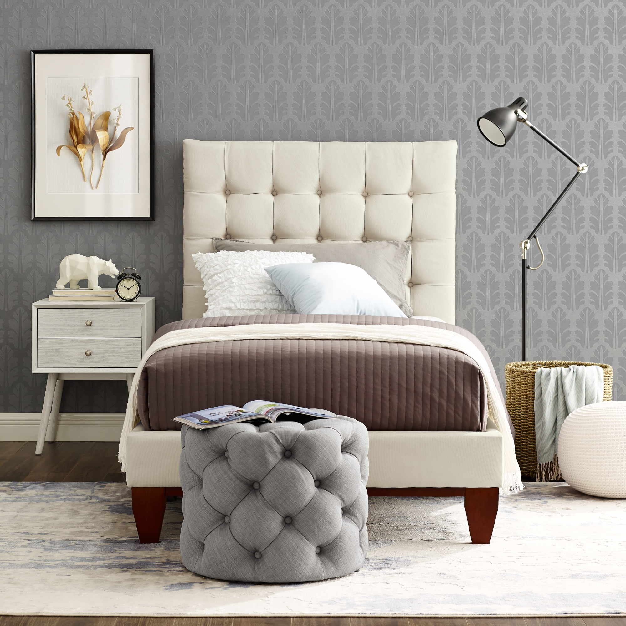Inspired Home Beige Linen Bed Button Tufted