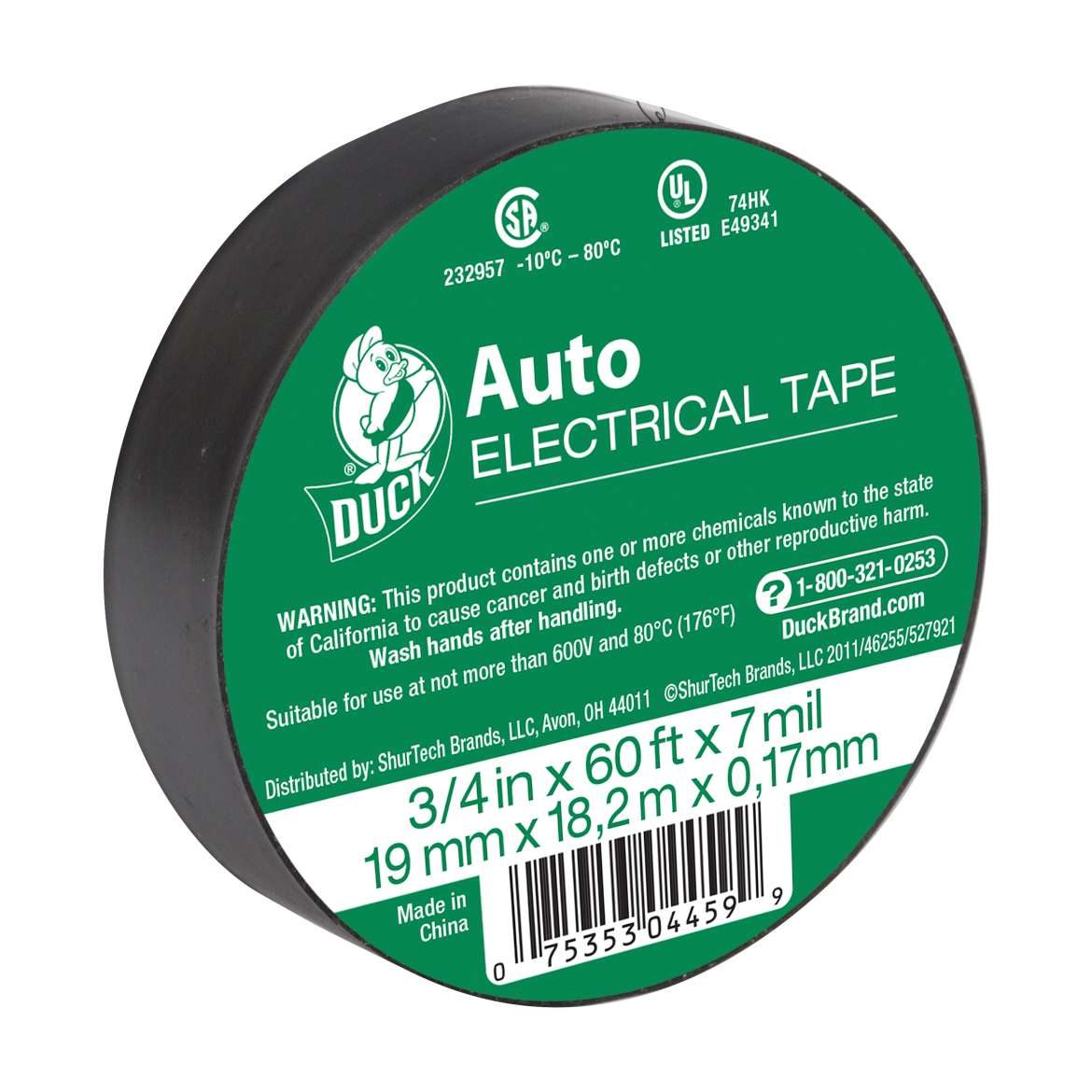 Duck® Brand Auto Electrical Tape - Black, .75 in. x 60 ft. x 7 mil. Image