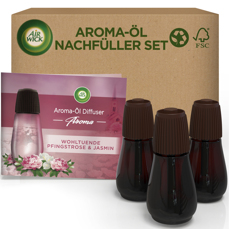 Air Wick Aroma-Öl Diffuser eCom Nachfüller-Set Wohltuende Pfingstrose & Jasmin