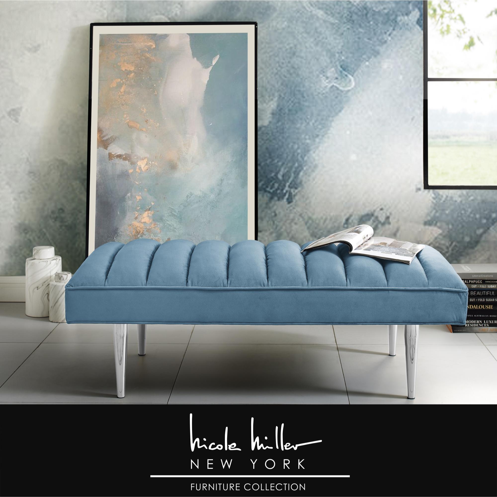 Nicole Miller Blue/Chrome Velvet Bench Upholstered Channel Tufted