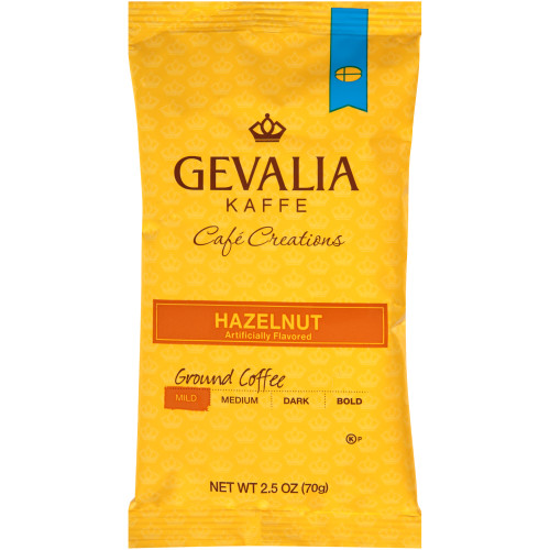 GEVALIA Hazelnut Roast & Ground Coffee, 2.5 oz. Bag (Pack of 24)