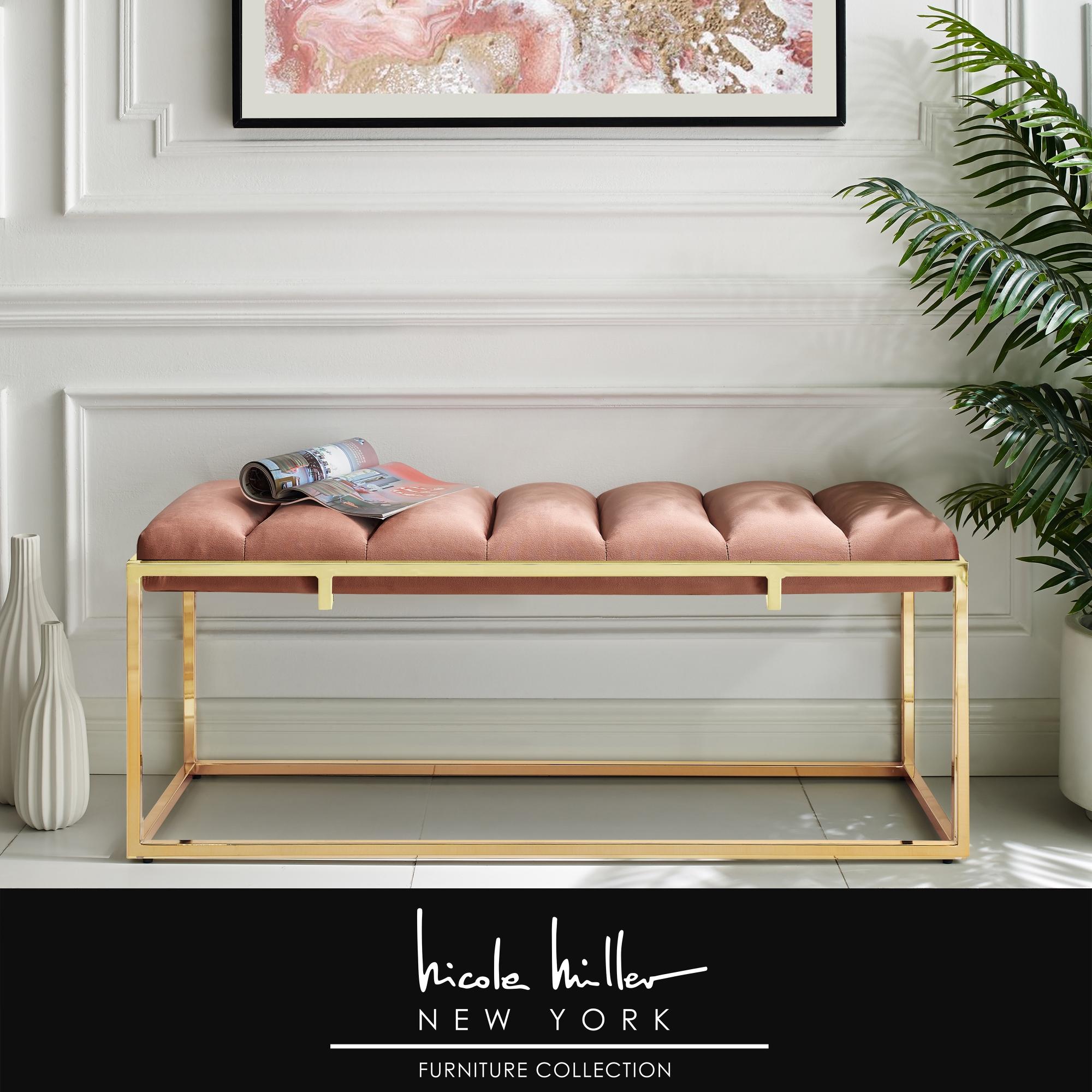 Nicole Miller Blush/Gold Velvet Bench Upholstered Channel Tufted