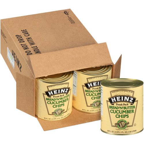 HEINZ Bread & Butter Cucumber Chips #10 Can, 99 fl. oz. (Pack of 6)