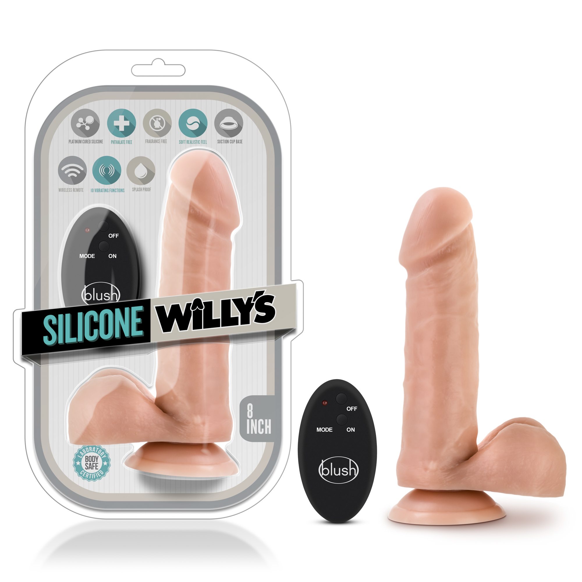 Silicone Willy's - 8 Inch 10 Function Wireless Remote Silicone Dildo - Vanilla