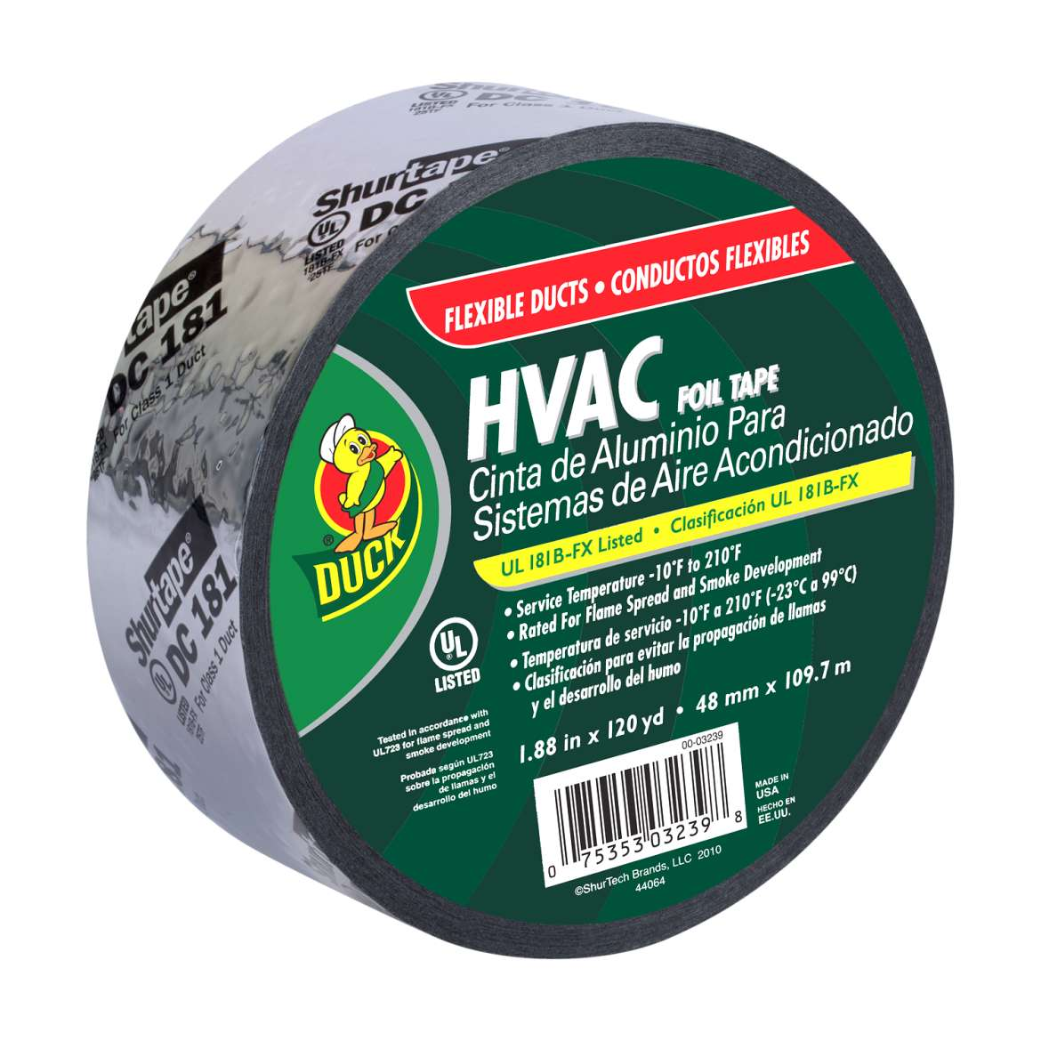 Duck® Brand HVAC Foil Tape for Flexible Ducts - Silver, 1.88 in. x 120 yd. Image