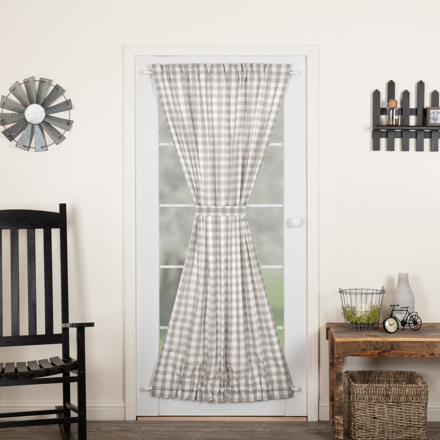 Annie Buffalo Grey Check Door Panel 72x42