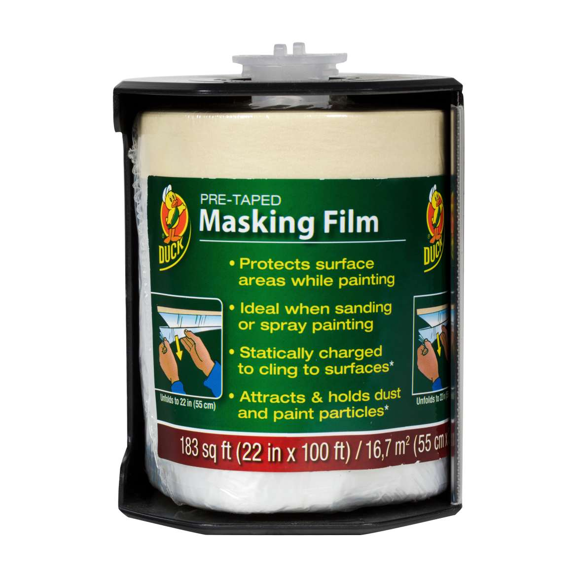 Duck® Brand Pre-Taped Masking Film - Clear, 22 in. x 100 ft. Image