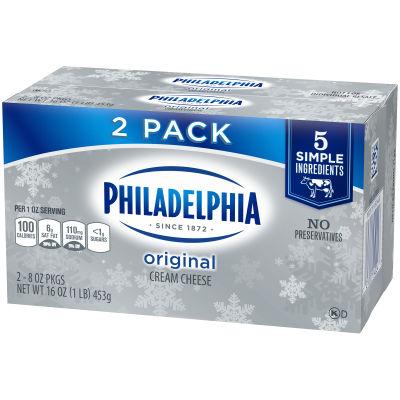 Philadelphia Cream Cheese Brick 16 oz Box (Pack of 2)