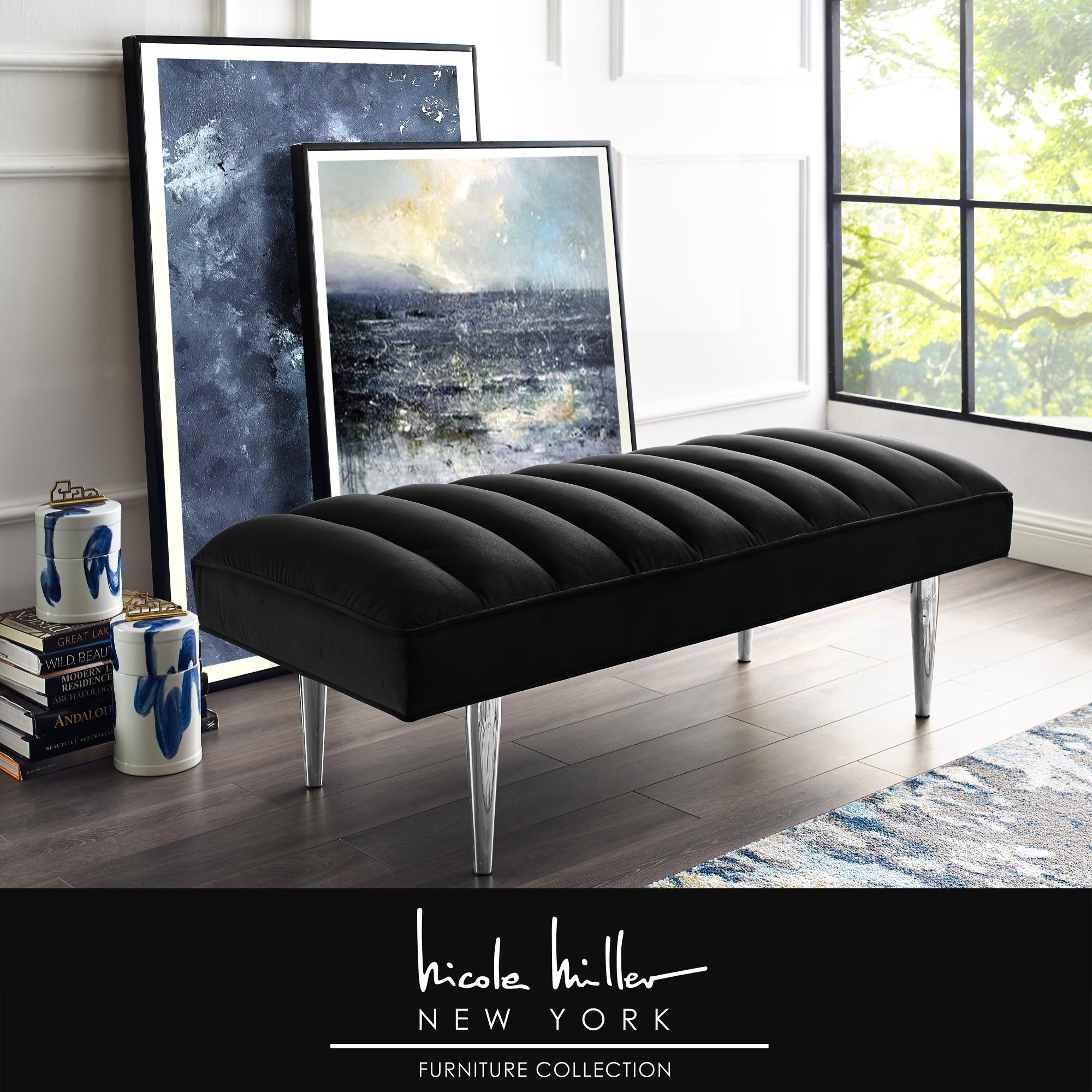 Nicole Miller Black/Chrome Velvet Bench Upholstered Channel Tufted