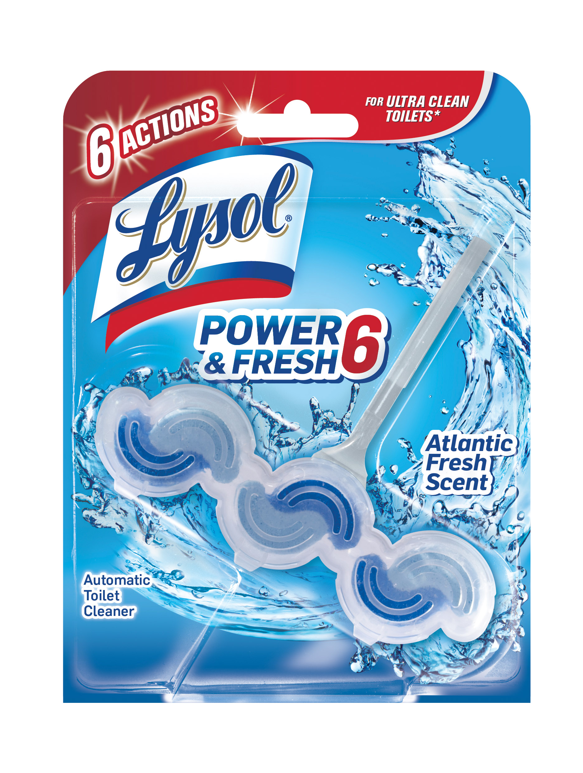 Lysol Power & Fresh 6 Automatic Toilet Bowl Cleaner, Atlantic Fresh, 1ct